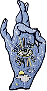 Good Luck I Love You Hand Sign and All Seeing Eyes Patch Embroidered Applique Badge Iron On Sew On Emblem