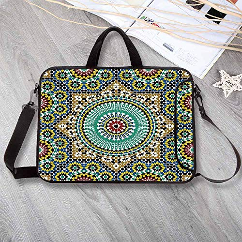 - Moroccan Decor Large Capacity Neoprene Laptop Bag,Architectural Glaze Decorative Wall Tile Ceramic Historical Traveling Destinations Laptop Bag for 10 Inch to 17 Inch Laptop,15.4