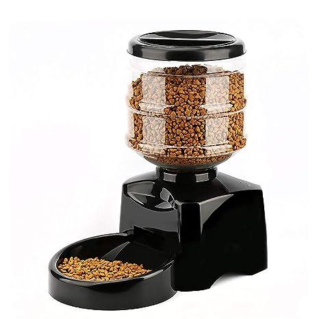 DJLOOKK Alimentador automático para Perros Alimentador de Control electrónico con Pantalla LCD Grande y Registro de