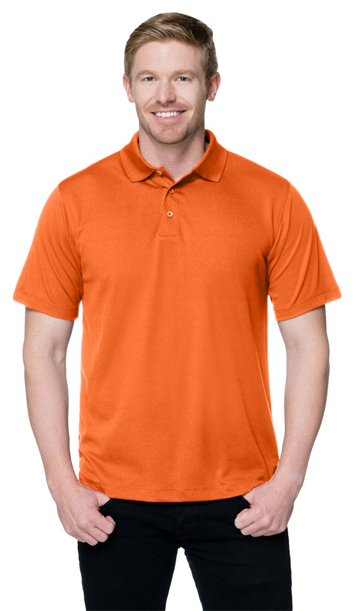 Tri-Mountain Men's Peak Performers Mini-Pique Polo,OSHA Orange,M