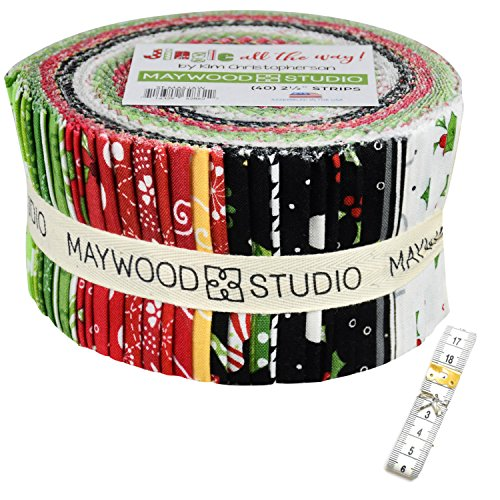 Jingle all the way! Precut Fabric Strip Jelly Roll, 40-2.5 inch strips Bundled with a 79-inch measuring tape for your crafting projects.