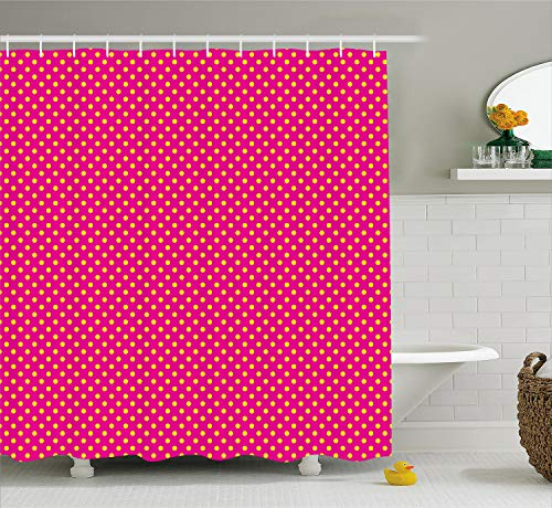 (Ambesonne Retro Shower Curtain, Retro Polka Dots Vintage Textured Classical Lovely Feminine Nostalgic Design, Cloth Fabric Bathroom Decor Set with Hooks, 75 Inches Long, Hot Pink)
