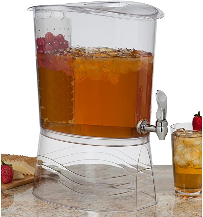 Creative Bath Oliver Beverage Dispenser with Insert Infuser, 3 gallon, Clear