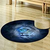 Anti-Skid Area Rug A serious lion Soft Area Rugs -Round 63