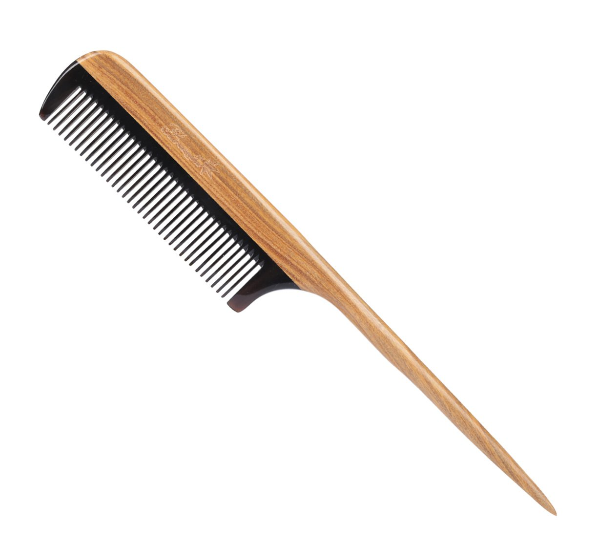 Breezelike Hair Combs - Fine Tooth Detangling Wooden Tail Comb - No Static Natural Sandalwood Buffalo Horn Comb for Women