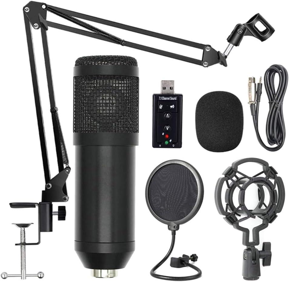 BM800 Kit de micr/ófono de suspensi/ón profesional Studio Live Stream Transmisi/ón Grabaci/ón Conjunto de micr/ófono de condensador