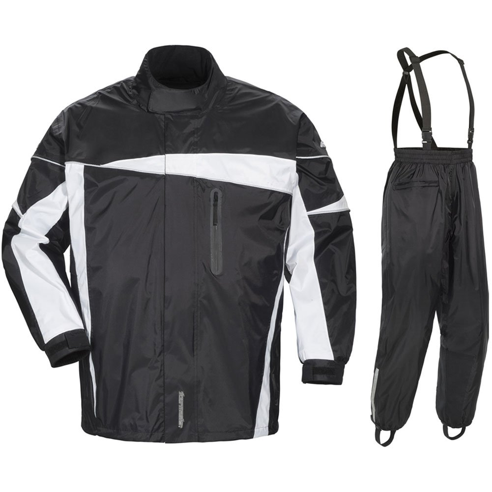 Tour Master Defender 2.0 Men's 2-Piece Street Bike Racing Motorcycle Rain Suit - Black/Black / X-Large