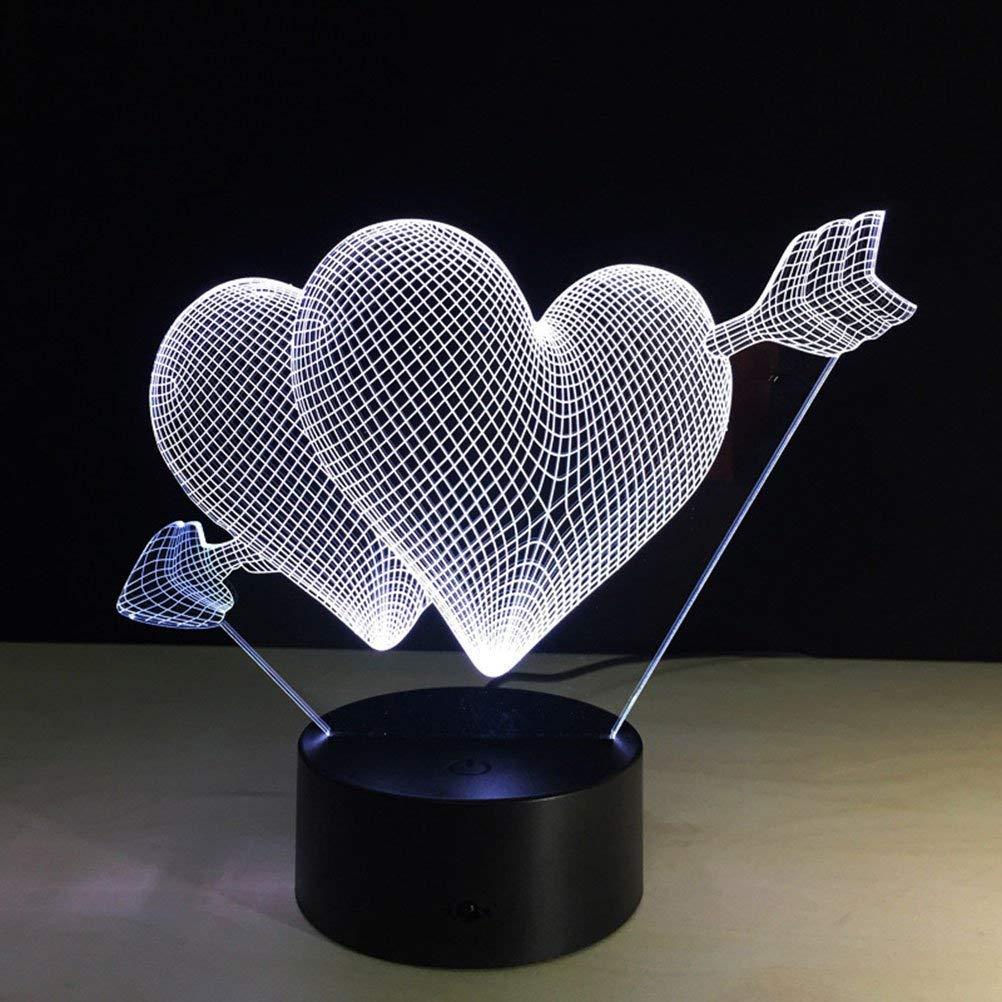 FERZA Home Pfeil durch das Herz led nachtlicht romantische Lampe Beleuchtung Lampe hochzeitsdekoration Liebhaber Paar Schatz