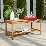 WE Furniture Acacia Wood Ladder Base Outdoor Coffee Table For Sale