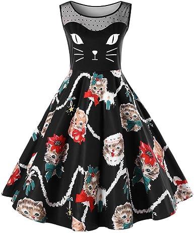 Lenfesh Linda Gatos Ropa Vestido de Mujer Primavera,A-Line Retro Rockabilly Dress-Vestido de Moda Para Ninas y Mujere (XL, Negro): Amazon.es: Ropa y accesorios