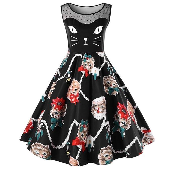 Lenfesh Linda Gatos Ropa Vestido de Mujer Primavera, A-Line Retro Dress sin Hombros: Amazon.es: Ropa y accesorios