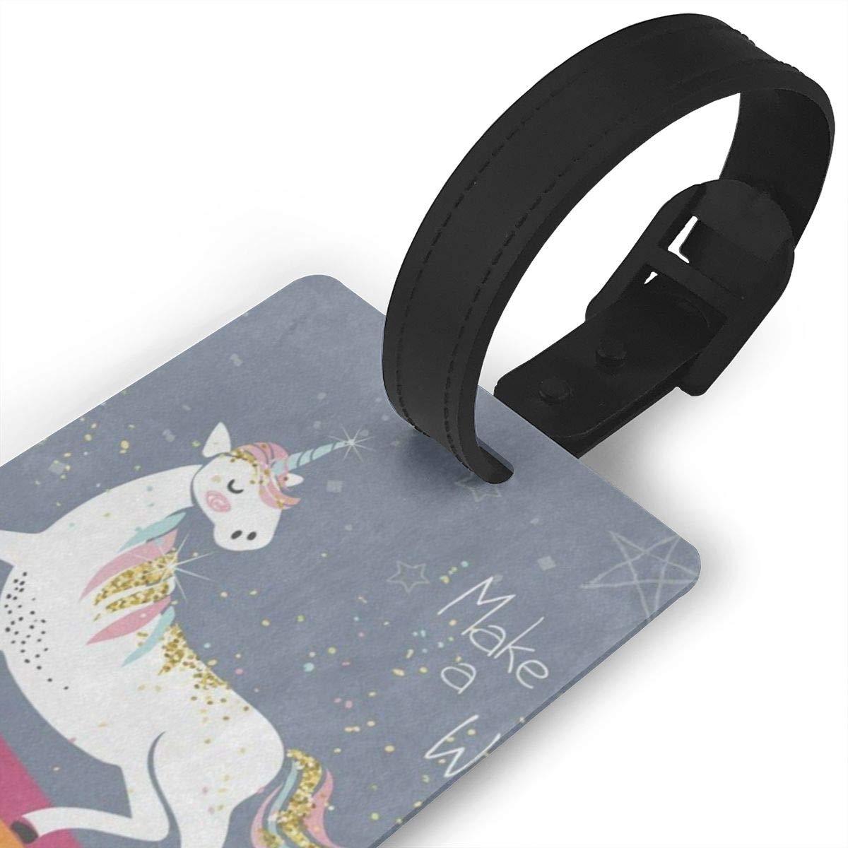 Luggage Tags Vintage Rainbow Unicorn Bag Tag for Travel 2 PCS