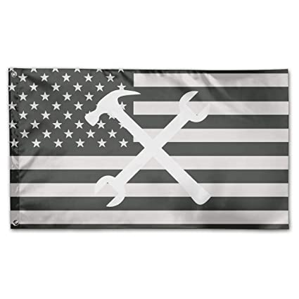 Amazon com: Ironworker Crossed Tools Flag Polyester Flag