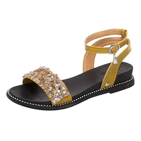 f30c0ca8bbac Amazon.com  AIMTOPPY Women Ladies Fashion Crystal Shoes Summer Open Toe  Single Strap Low Heel Flat Beach Sandals  Cell Phones   Accessories