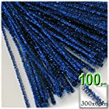 The Crafts Outlet Chenille Sparkly Stems, Pipe Cleaner, 12-in (30-cm), 100-pc, Royal Blue
