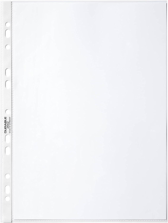 Prospekthüllen A4 100 Stück PP Glasklar Extra Stark Punched Pockets DURABLE