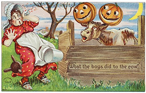 Posterazzi Vintage halloween greeting card with cow with jack-o-lanterns on horns from 20th century Poster Print (19 x 12)