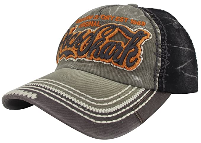 b58a4992 MINAKOLIFE Rock Shark Distressed Vintage Cotton Embroidered Baseball Cap  Snapback Trucker Hat (Black)
