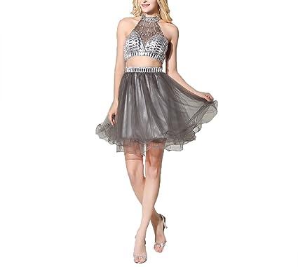 Ai Bang 2017 Two Pieces Silver Grey Short Homecoming Dresses High ...