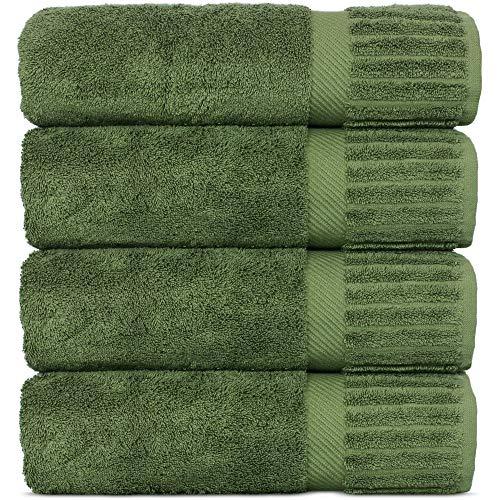 Luxury Hotel-Spa Turkish Cotton 4-Piece Bath Towels (Moss)
