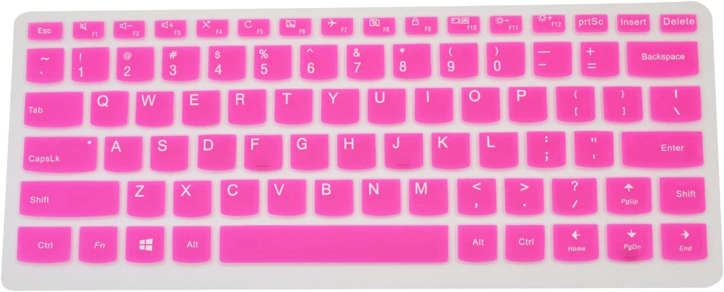 "PcProfessional Hot Pink Ultra Thin Silicone Gel Keyboard Cover for Lenovo Yoga 710 14 14"" Yoga 710 15 15.6"" Flex 4 14"" Yoga 910 14"" Laptop (Please Compare Layout and Model)"