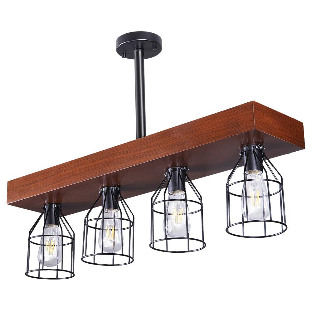 Wellmet Wood Farmhouse Kitchen Island Lighting with Metal Cages, Rustic Light Fixtures for Dinning Room, 4 Lights Chandelier Hanging Light for Living Room, Smooth Finished