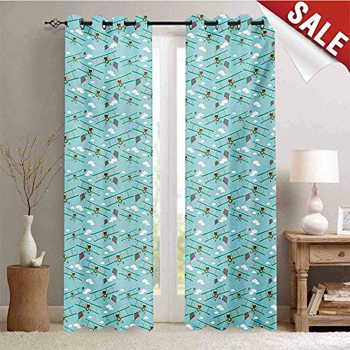 - Hengshu Baby Blackout Draperies for Bedroom Funny Bear on Ladder Trying to Reach The Kite in Sky Clouds Kids Nursery Cartoon Thermal Insulating Blackout Curtain W84 x L84 Inch Turquoise Teal