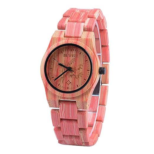 BEWELL Relojes Madera Mujer Analógico Cuarzo Japonés con Correa de Bambu Redondo Casual Relojes de Pulsera