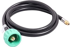 KIBOW 5FT Propane Pigtail Hose Connector with Acme Nut X 1/4 Inch Inverted Male Flare