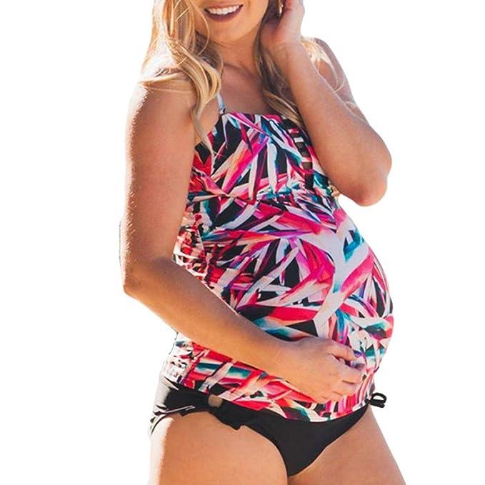 PAOLIAN Trajes de baño de Dos Piezas Bikini Sexy Embarazada Mujer Talla Grande Verano 2018 Ropa de Playa Bañador Impreso Tankinis Cómodo Camisolas y Pareos ...