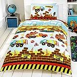 Under Construction Childrens/Boys Single Duvet Cover Bedding Set (Twin) (Multicolored)