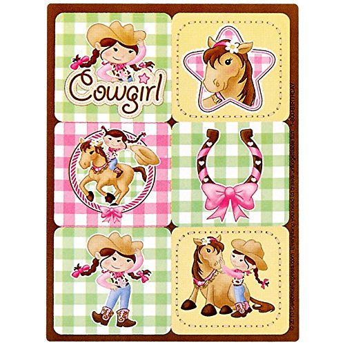 Pink Cowgirl Party Supplies - Sticker Sheets (4) (Pink Cowgirl Sticker Sheets)