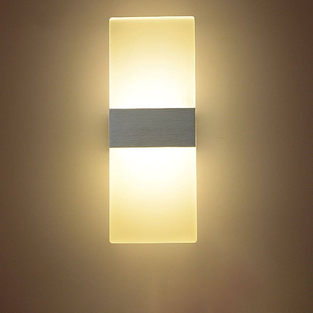 Alotm Modern Acrylic 6W Motion Sensor Activated LED Wall Lamp Fixture Decorative Night Light for Bedroom, Living Room, Hallway, Pathway, Staircase, Garden, Balcony Warm White (White)