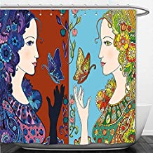 Beshowere Shower Curtain Floral Nature Women in Embellished Flower and Butterfly Pattern Mother Earth Themed Artwork Multicolor