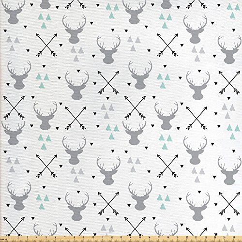 Lunarable Antlers Fabric by The Yard, Hunting Theme with Scandinavian Design Elements Arrows Triangles Deer, Decorative Fabric for Upholstery and Home Accents, Grey Mint Green Black (Element Arrow)