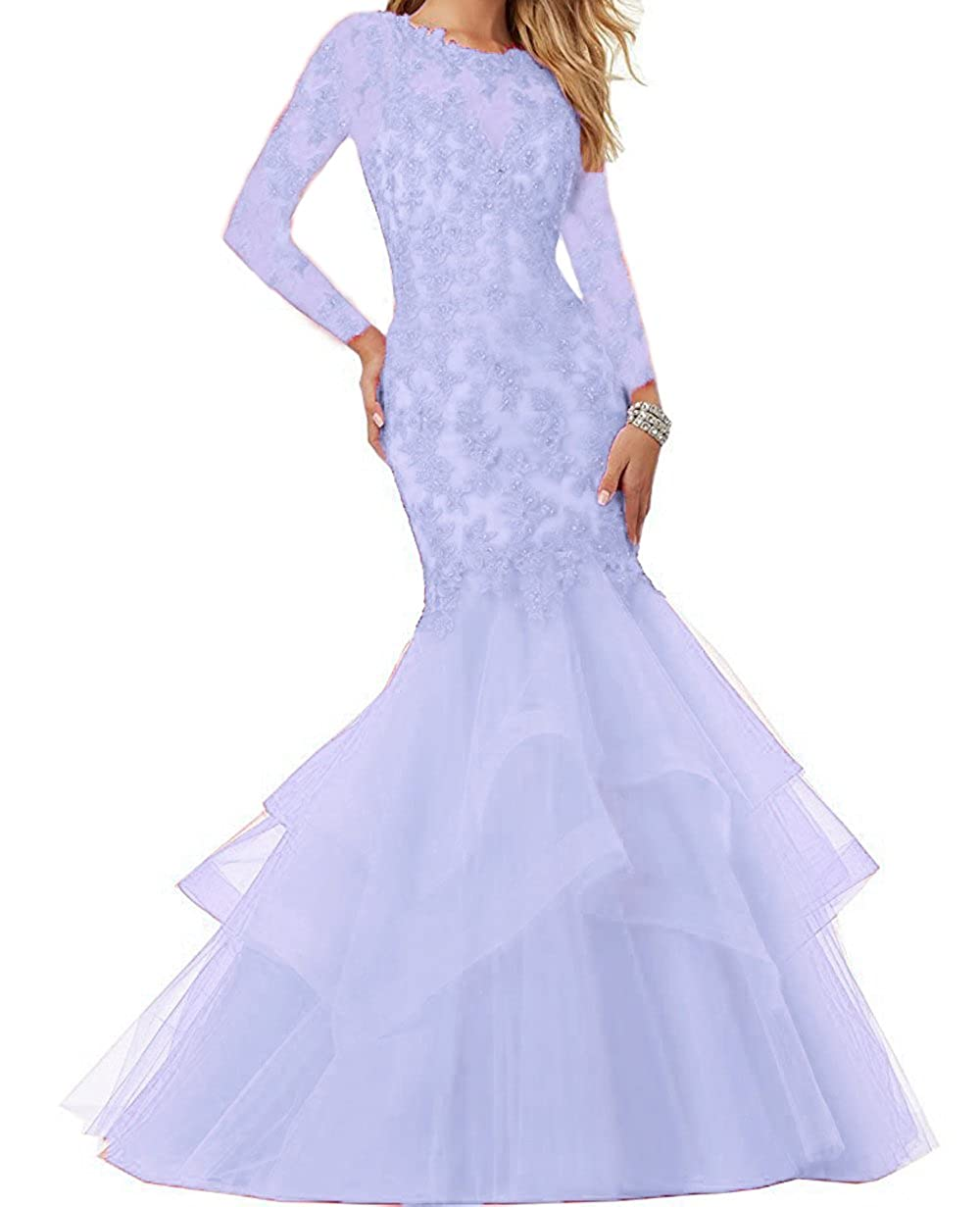 Lavender Ellenhouse Women's Long Sleeve Mermaid Applique Prom Party Evening Dresses EL339