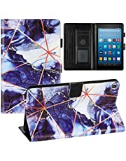 Miagon for All New Amazon Fire HD 8 (7th 8th,2017 2018) Marble Case,PU Leather Folio Stand Wallet Smart Magnetic Cover Shockproof Shell with Auto Wake/Sleep,Dark Blue