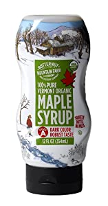 Butternut Mountain Farm 100% Pure Organic Maple Syrup From Vermont, Grade A (Prev. Grade B), Dark Color, Robust Taste, All Natural, Easy Squeeze, 12 Fl Oz