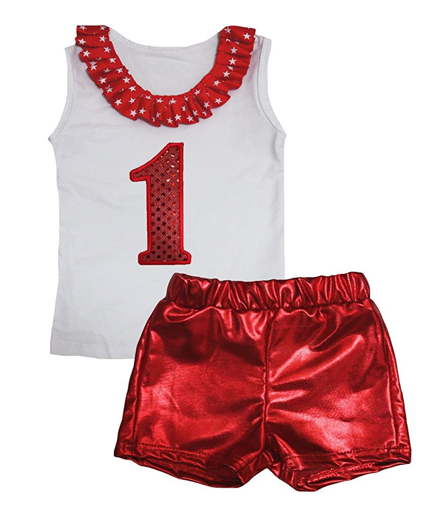Petitebella Sequins 1st White Cotton Shirt Red Bling Short Set 1-8y