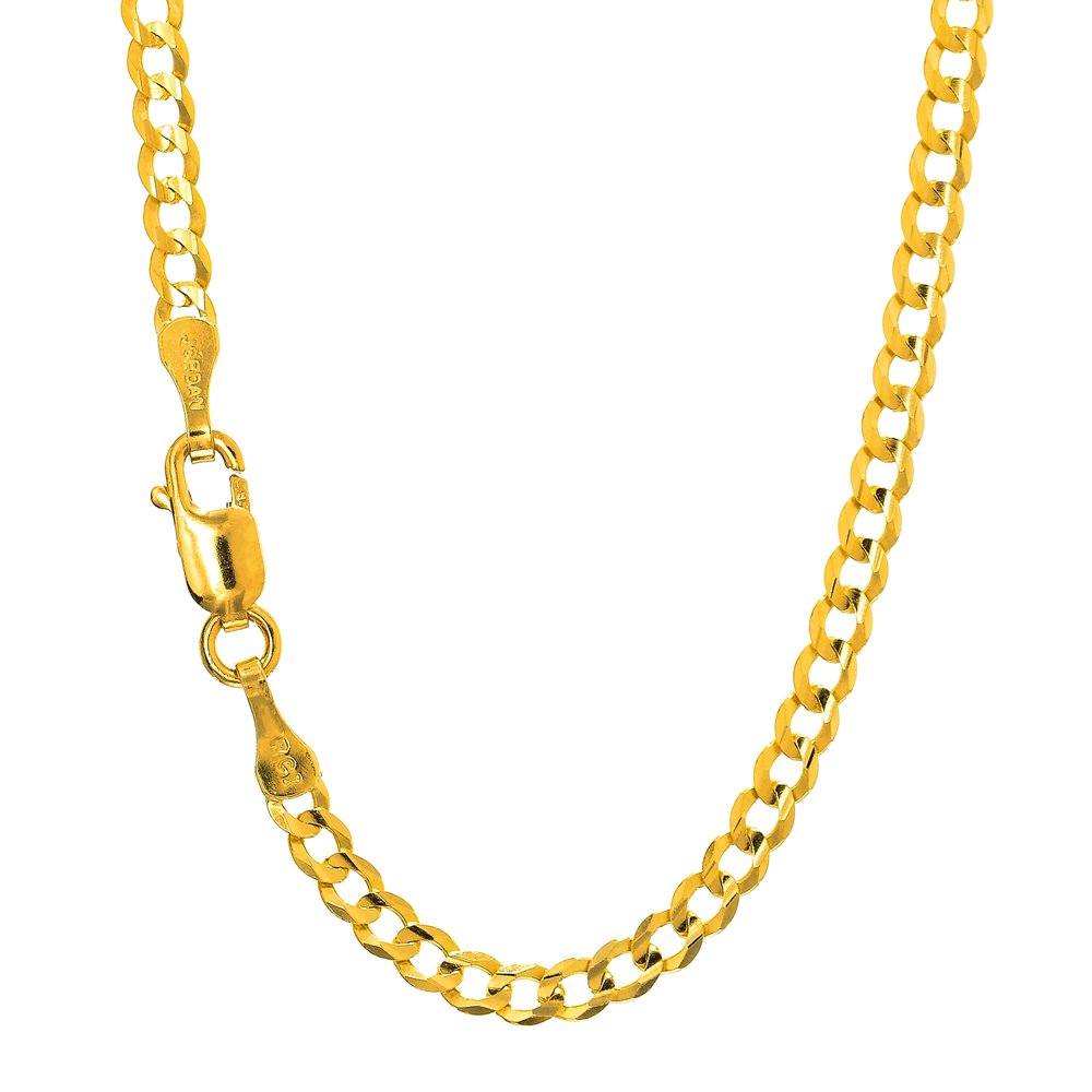 JewelStop 14k Solid Yellow Gold 2.5 mm Curb Link Anklet, Lobster Claw Clasp - 10''