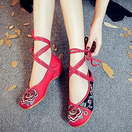 Y & M brodée Chaussures, semelle de tendon, style ethnique, Female Chiffon Chaussures, mode, confortable, décontracté au sein de l'augmentation, beige, 35
