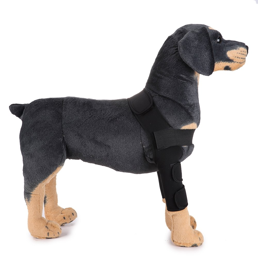 Black L Black L MDCT Dog Elbow Predector Extra Supportive Dog Canine Rear Leg Hock Joint Wrap Sleeve Black