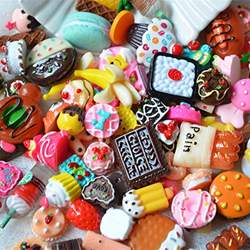 Flat Dessert (100 Pcs Mixed Lot Food Resin Random Mini Donuts Cake Chocolate Dessert DIY Handmade Material)