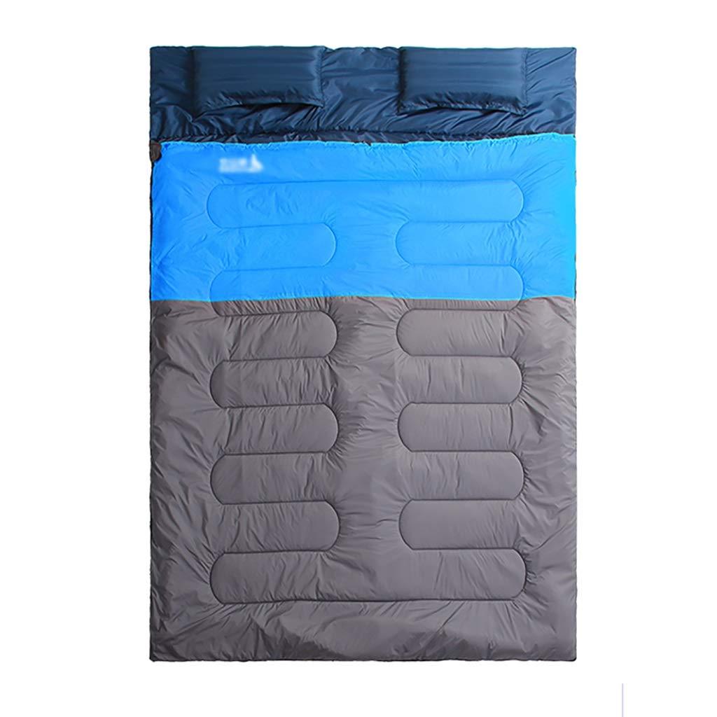 屋外用寝袋 大人2名様用春の二重寝袋キャンプハイキングのための寝袋 (色 : A) B07PG9RQ2C B  B