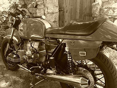 Limitierte Ausgabe Cafe Racer//Chopper//Bobber//Scrambler//Tracker//Brat//Custom Ledertasche Satteltasche Seitentasche Vintage Stil f/ür Linke Seite Motorrad
