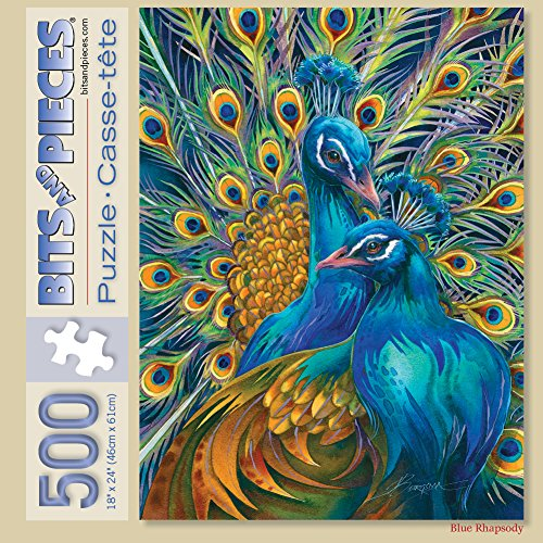 Bits and Pieces - 500 Piece Jigsaw Puzzle for Adults - Blue Rhapsody - 500 pc Peacock Jigsaw by Artist Jody Bergsma