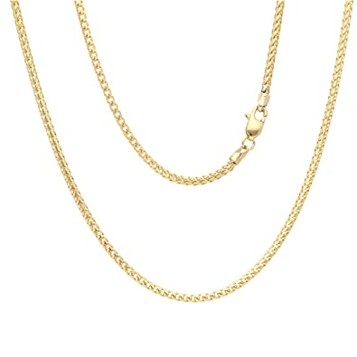 bc902f637bcef Amazon.com: Solid 14K Yellow Gold 2mm Franco Chain Necklace 22
