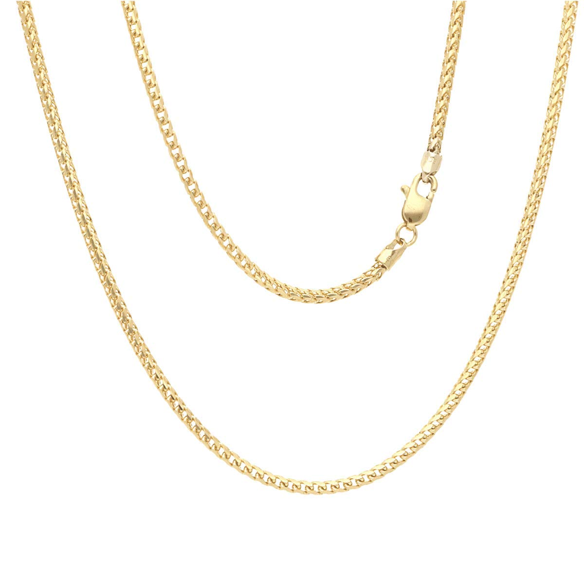 Solid 14K Yellow Gold 2mm Franco Chain Necklace 22'' 24'' 26'' 28'' HEAVY, 24