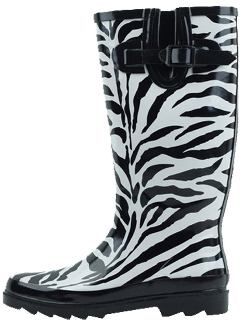 SBC Women's Fashion Rain Boots Adjustable Buckle Fashion Women's Mid Calf Wellies Rubber Knee High Snow Multiple Styles B00QBL1Y2U 7 B(M) US|Zebra f1f357