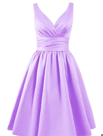Lavender Short Bridesmaid Dresses | Ladsen Short Bridesmaid Dresses Satin Prom Dress V Neck Ruched Gown